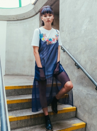 Young British Designers: KARA T-Shirt Dress with Chiffon Overlay. Navy. by Sophie Pittom