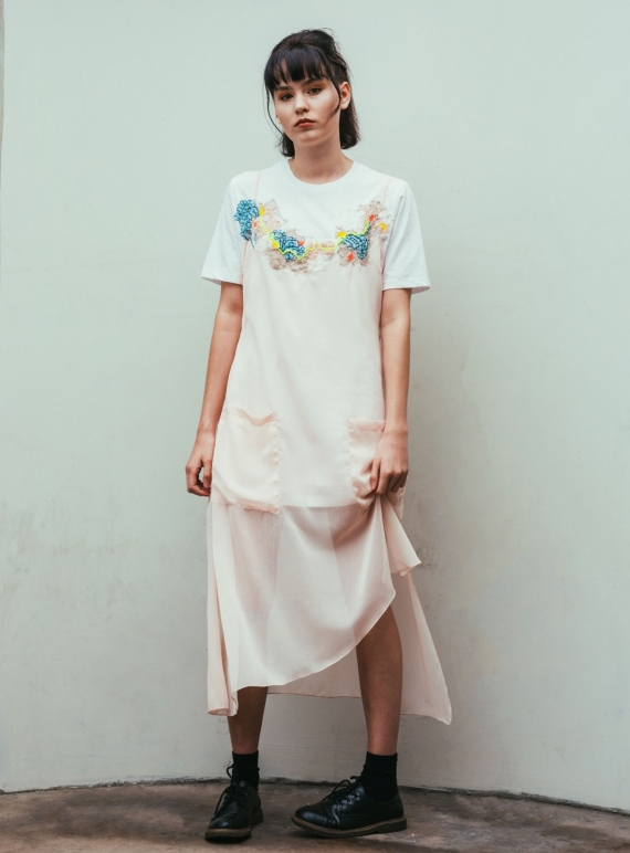 Young British Designers: KARA T-Shirt Dress with Chiffon Overlay. Nude. by Sophie Pittom