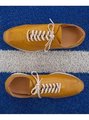 Young British Designers: KID LEATHER Vintage Yellow Trainers - last pair (39) by LF Markey