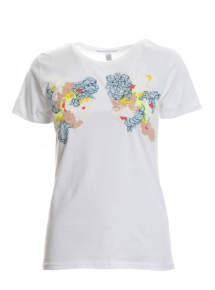 Hand Embellished T-Shirt. White by Sophie Pittom