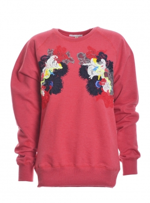 Young British Designers: Hand Embellished Sweatshirt. Washed Red. - Sold out by Sophie Pittom