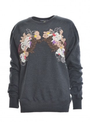 Hand Embellished Sweatshirt. Washed Grey - Sold out by Sophie Pittom