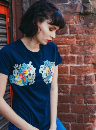 Hand Embellished T-Shirt. Navy by Sophie Pittom