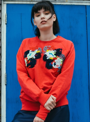 Hand Embellished Sweatshirt. Washed Red. - Sold out by Sophie Pittom