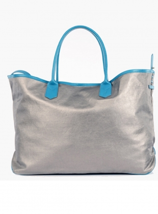 Large Travel Tote in Sky Blue Silver Metallic by Jam Love London