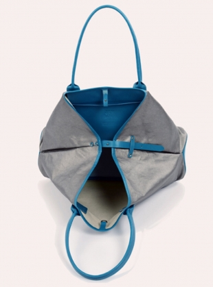 Young British Designers: Large Travel Tote in Sky Blue Silver Metallic by Jam Love London