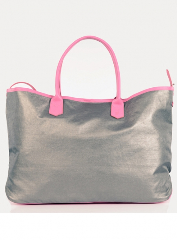 Young British Designers: Large Travel Tote in Pink Silver Metallic by Jam Love London
