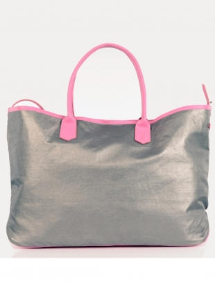 Large Travel Tote in Pink Silver Metallic - last one by Jam Love London