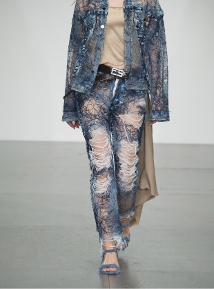 Yarn Painted Transparent Denim Jeans - last pair (25) by Faustine Steinmetz