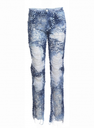 Young British Designers: Yarn Painted Transparent Denim Jeans - last pair (25) by Faustine Steinmetz