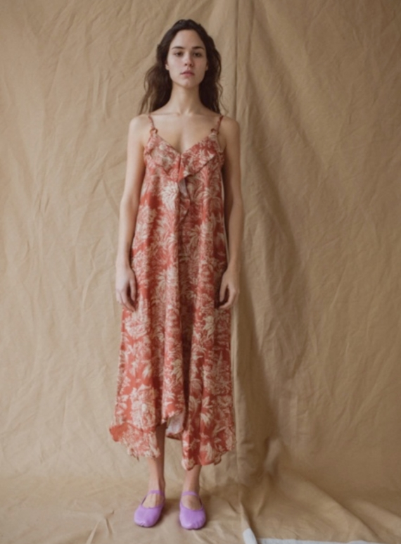 Young British Designers: SADA COLONIAL PRINT SATIN MIDI DRESS. Rust. by Belize