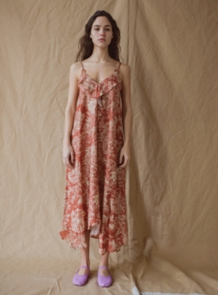 SADA COLONIAL PRINT SATIN MIDI DRESS. Rust. by Belize