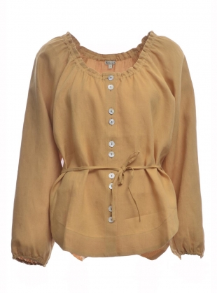 LILY BALLOON SLEEVE LINEN TOP. Desert - Last one (0) by Belize
