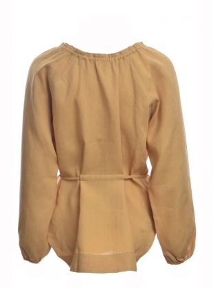 Young British Designers: LILY BALLOON SLEEVE LINEN TOP. Desert by Belize