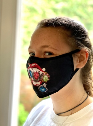 PRINTED MOUTH JEWELS Barrier Mask by Natalie B Coleman