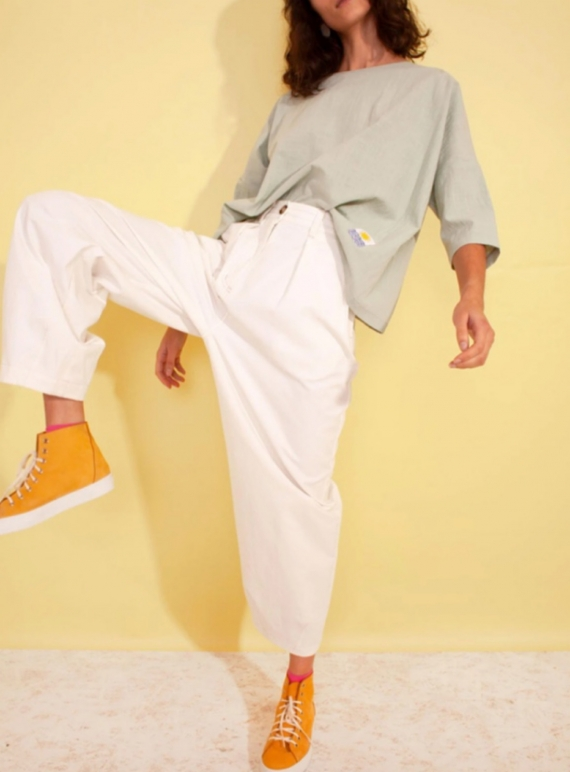 Young British Designers: JENKIN TROUSER. White Cotton - last pair (6) by LF Markey