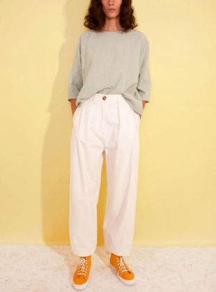 JENKIN TROUSER. White Cotton. by LF Markey