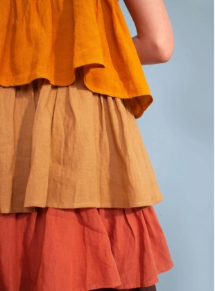 Young British Designers: CADMUS MIDI DRESS. Multi-colour linen. by LF Markey