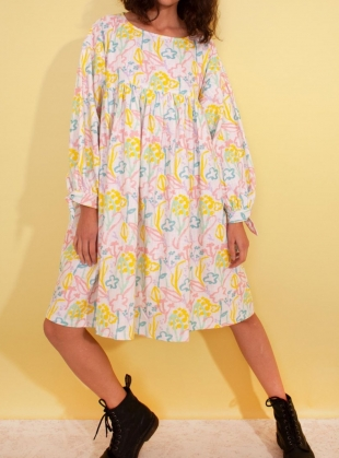 Young British Designers: KEL BABY PRINT LINEN DRESS by LF Markey