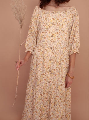 NERINE VINTAGE FLORAL COTTON DRESS  by Meadows