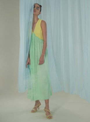 Marbled Yellow/Aqua Slip Dress by Edward Mongzar