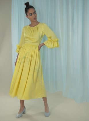 Young British Designers: Marbled Yellow Silk Gather Dress by Edward Mongzar