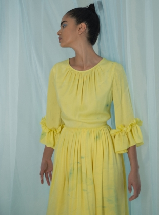 Marbled Yellow Silk Gather Dress by Edward Mongzar
