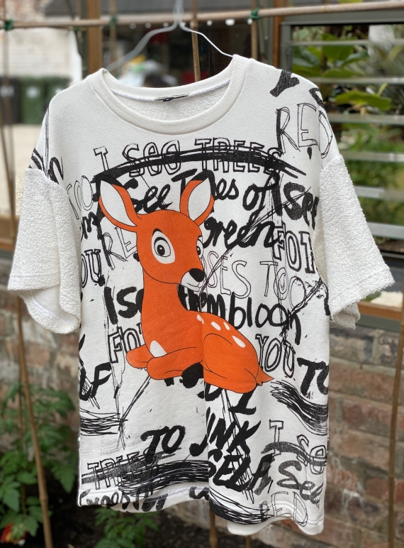 Young British Designers: Oversized sweat top with Bambi  by Simeon Farrar