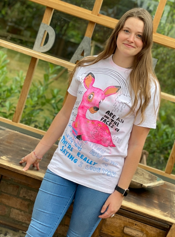 Young British Designers: T-Shirt with Rainbow Pink Bambi Wash by Simeon Farrar