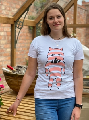 Young British Designers: Unisex Tee with Pink Stripe Bear by Simeon Farrar