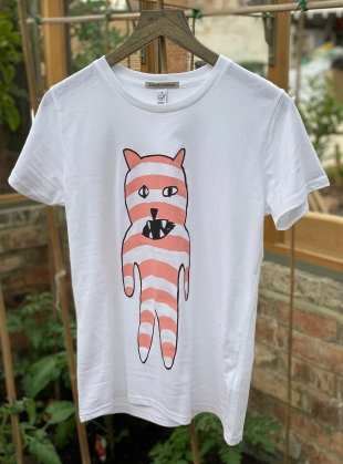 Unisex Tee with Pink Stripe Bear by Simeon Farrar