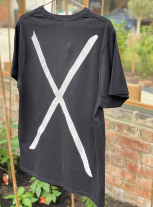 Young British Designers: Washed Black Tee with Bear & (back) Cross by Simeon Farrar