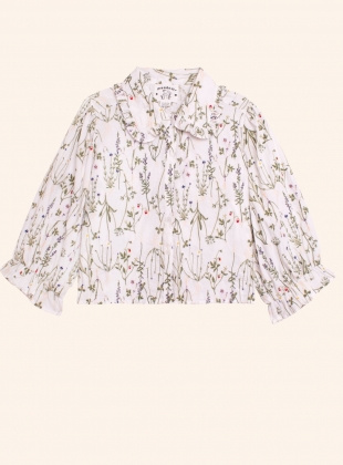 Young British Designers: DAHLIA ENGLISH STEMS COTTON SHIRT - Last one (14) by Meadows
