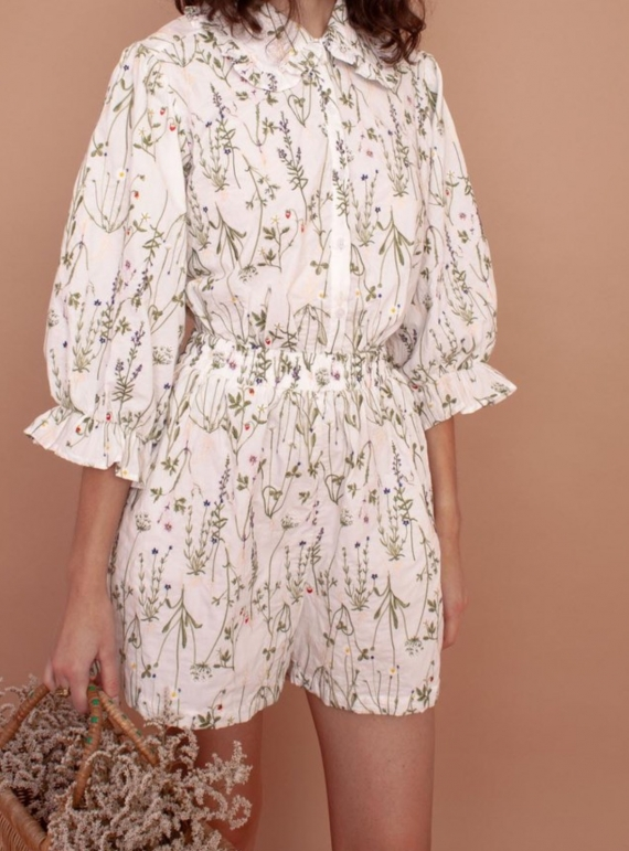 Young British Designers: DAHLIA ENGLISH STEMS COTTON SHIRT by Meadows