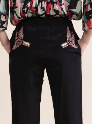 Young British Designers: EM JOGGER PANTS. Embroidered Blue Jay by Tallulah & Hope
