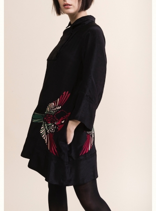 Young British Designers: RUBY SHIRT DRESS. Embroidered Blue Jay on Black by Tallulah & Hope