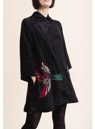 RUBY SHIRT DRESS. Embroidered Blue Jay on Black by Tallulah & Hope