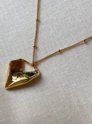 Young British Designers: Mini Textured Pendant on Gold Bead Chain by Hannah Faye Jewellery