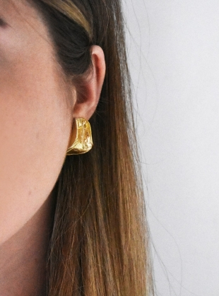 Young British Designers: Gold Textured Curve Earrings by Hannah Faye Jewellery