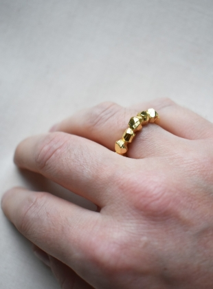 Young British Designers: Little Band of Rocks Ring. Gold by Hannah Faye Jewellery