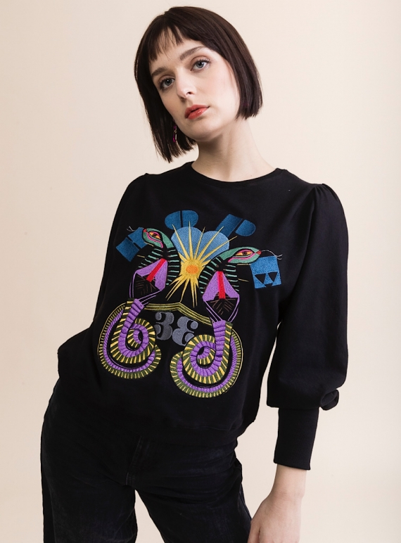 Young British Designers: HAND EMBROIDERED LONG SLEEVED SWEATSHIRT by Tallulah & Hope