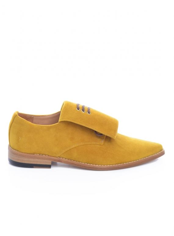 Young British Designers: Handmade Derby Shoe in Mustard Velvet - last pair (39) by OFKT