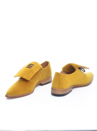 Handmade Derby Shoe in Mustard Velvet  by OFKT