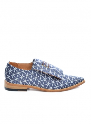Handmade Derby Shoe in Navy and White Geometric by OFKT