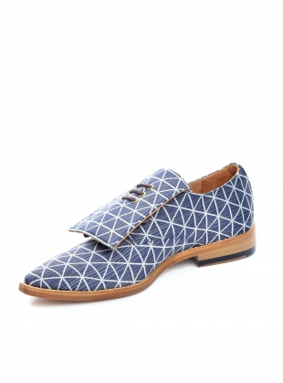 Young British Designers: Handmade Derby Shoe in Navy and White Geometric by OFKT