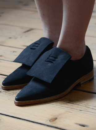 Handmade Derby Shoe in Black Nubuck by OFKT