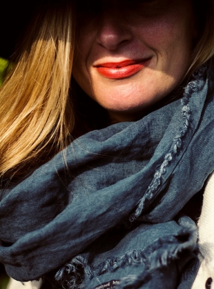 Linen Softened Wraparound Scarf in Teal Green by Lemuel MC