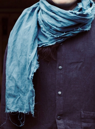 Young British Designers: Linen Softened Wraparound Scarf in Teal Green by Lemuel MC