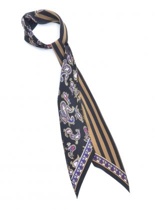 SUPER SKINNY SCARF in Ice Cream Paisley Black by Rockins