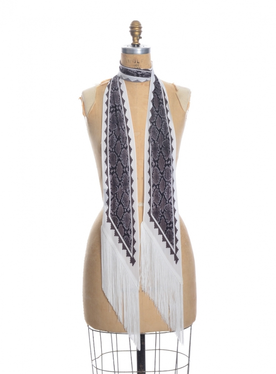 Young British Designers: CLASSIC SKINNY FRINGED SCARF in Ivory Snakeskin by Rockins
